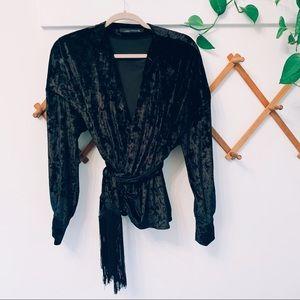 NWOT Zara crushed black velvet fringe wrap top S